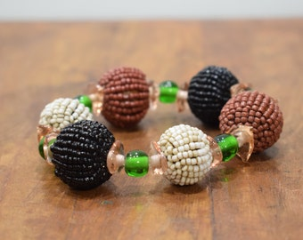 Bracelet Beaded Brown Black Green Bead Elastic Bracelet