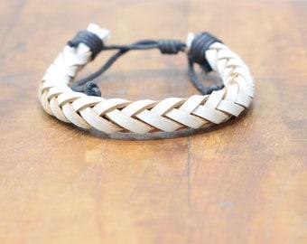 Bracelet White Leather Woven Round Tie Bracelet