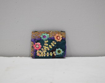 Coin Purses Dark Green Assorted Sequined Flower Purse