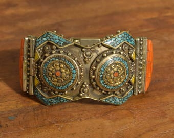 Tibetan Bracelet Silver Turquoise Inlay Coral Stone Hand Crafted Silver Ornate Cuff Bracelet