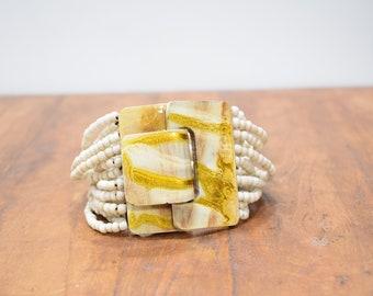 Bracelet Cream Hand Painted Buckle Clasp Bracelet