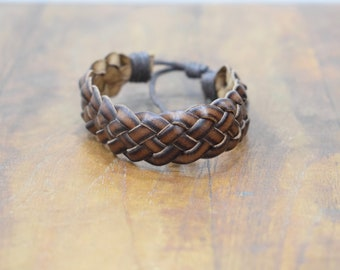 Bracelet Leather Black Brown Woven Tie Bracelet