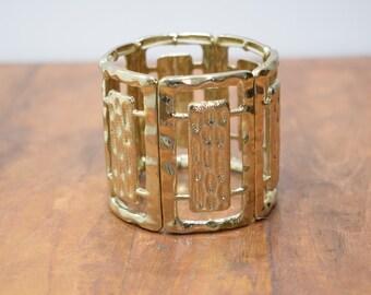 Bracelet Gold Panel Style Stretch Bracelet