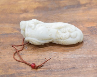 Carving Chinese Nephrite Light Jade Lotus and Monkey # 10