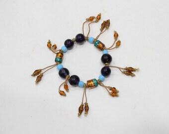Bracelets Beaded Stretch Turquoise Purple Glass