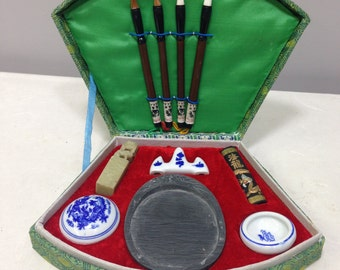 Chinese Calligraphy Brushes Ink Ink Stone Paste Calligraphy Set