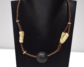 """Necklace African Old Ostrich Shell Copper Kenya 18"""""""