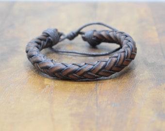 Bracelet Brown & Brown Black Leather Woven Round Tie Bracelet