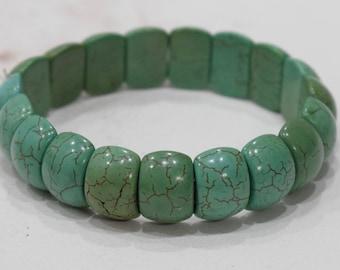 Bracelets Turquoise Sectioned Oval Stone Elastic Stretch Bracelet