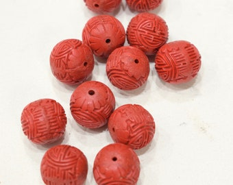 Beads Chinese Red Cinnabar Lacquered Round Beads 15mm