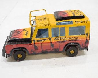 African Safari Recycled Red Tin Truck Pop Up Roof Tanzania Toy Safari Truck