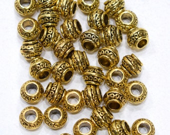 Beads Chinese Brass Etched Rondelle Beads 8-9mm