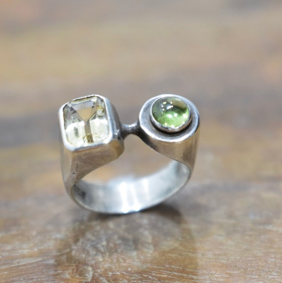 Ring Sterling Silver Amethyst Peridot Ring