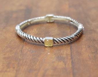 Bracelet Plated Silver Stretch Bangle Rhinestone Bracelet