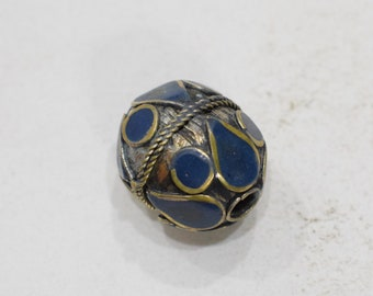 Beads Middle Eastern Lapis Blue Oval Brass Round Beads 27mm