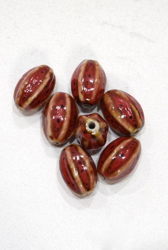 Beads Red Porcelain Oval Beads 19-20mm