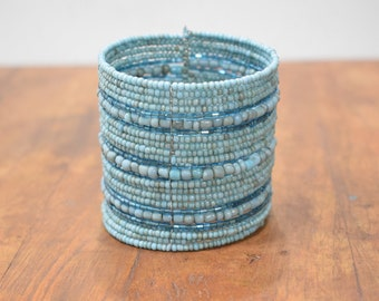 Bracelet Beaded Turquoise Iridescent Wide Wire Cuff Bracelet