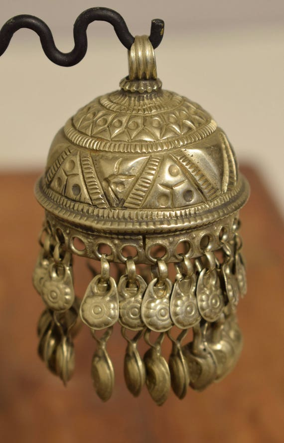 Beads Silver Kuchi Bell Large Belly Dancing Jewelry Middle Eastern Kuchi Bell 3  1/2""