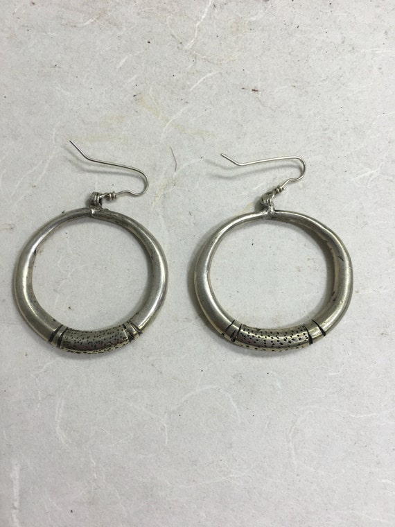 Earrings Silver Chinese Miao Hill Tribe Handmade  Etched Hoop Jewelry Tribal Earrings Gift Hill Tribe Unique Statement