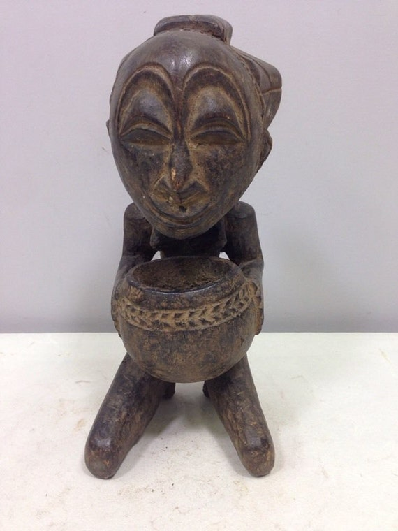 African Statue Luba Cup Bearer Hand Carved Wood Luba Mother Statue Zaire Handmade Spirit Wife Woman Mothehood Spiritual Statue