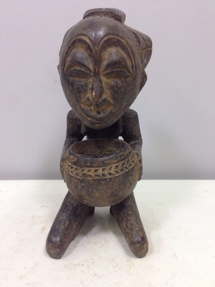 African Statue Luba Cup Bearer Hand Carved Wood Luba