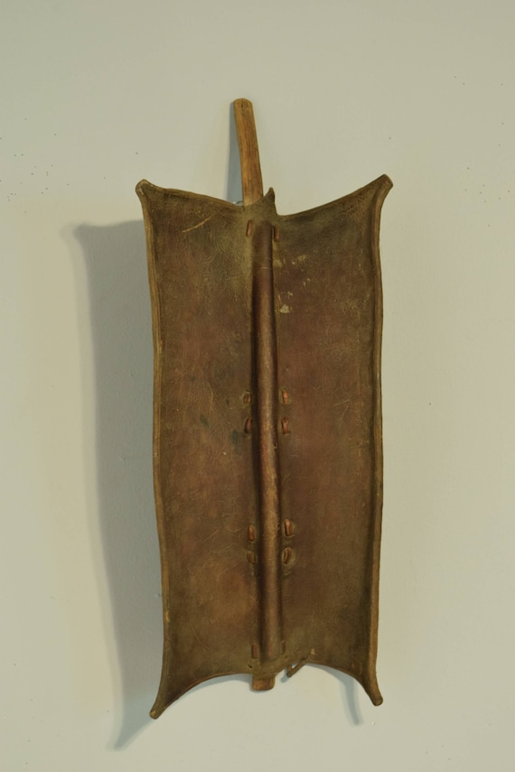 African Toposa Leather Shield Handmade Warrior Fighting  Personal Armour Raids Protection Toposa Leather Shield