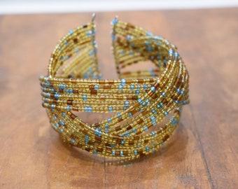 Bracelet Beaded Iridescent Honey Gold Blue Wire Cuff Bracelet