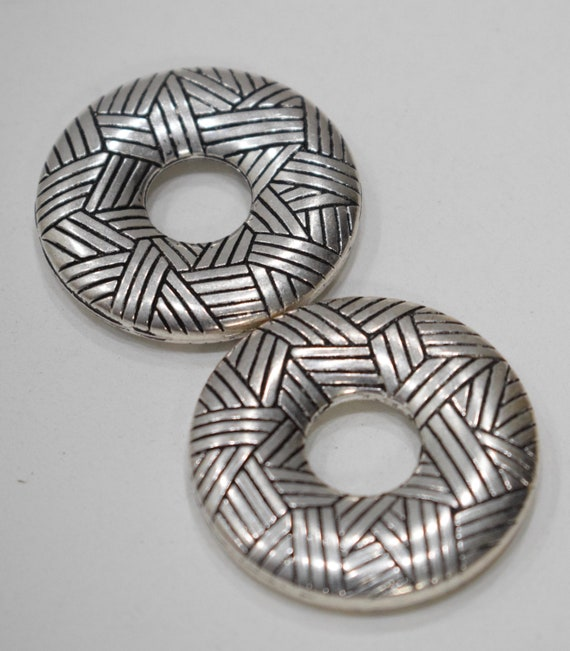 Beads Silver Plated Etched Donut Beads 38mm