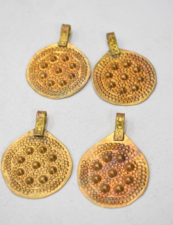Beads Middle Eastern Kuchi Brass Round Pendants 40mm