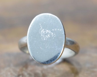 Ring Sterling Silver Oval Initial Ring