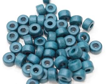 Beads Teal Blue  Ceramic Pony Vintage Beads 8mm