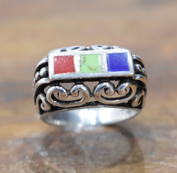 Ring Sterling Silver Inlaid Ornate Stone Ring