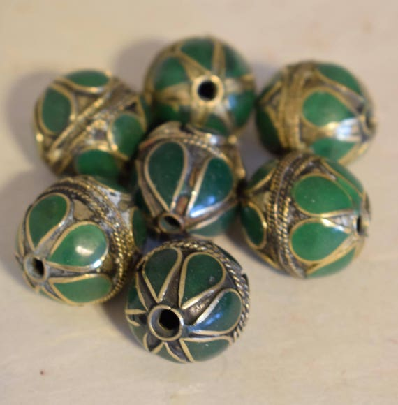 Beads Middle Eastern Green Stone  Brass Oval Beads Handmade Handcrafted 3 Lot Green Beads Brass Crafts Jewelry Beads