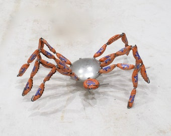 African Red and Orange Recycled Fanta Coke Bottle Cap Spider