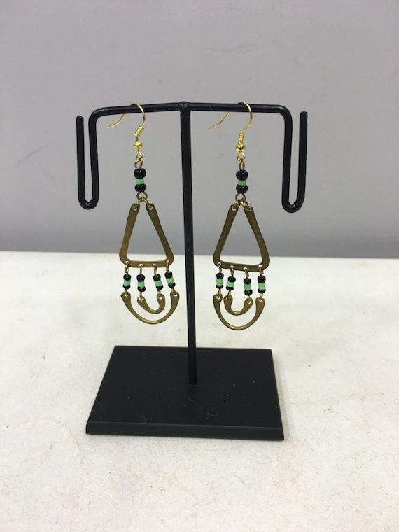 Earrings Brass African Masai Beaded Triangle Hoop  Earrings Handmade Green Black Glass Dangle Brass Women Earrings Unique Tribal E96