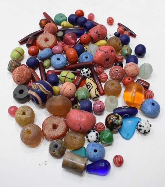 Beads Assorted Variety Bag African India Horn Glass Colored Beads 10mm - 34mm