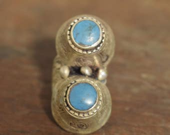 Ring Middle Eastern Silver Turquoise Etched Double Stone Handmade Tribal Etched Silver Turquoise Double Dome Ring