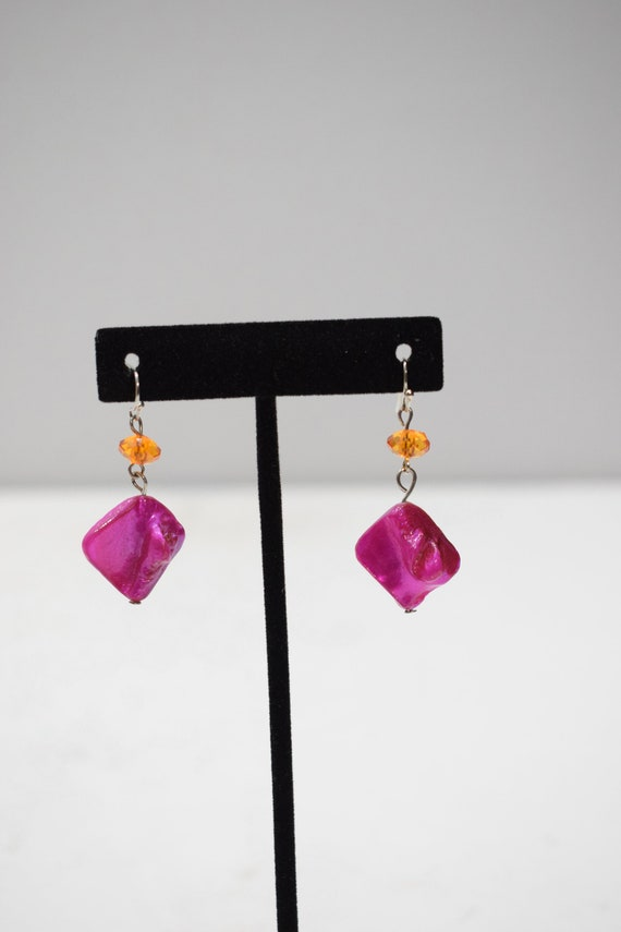 Earrings Dyed Pink Shell Earrings
