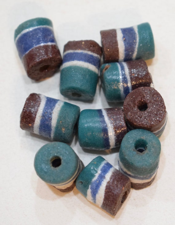Beads African Sandcast Brown Green White Vintage Beads 16mm - 18mm