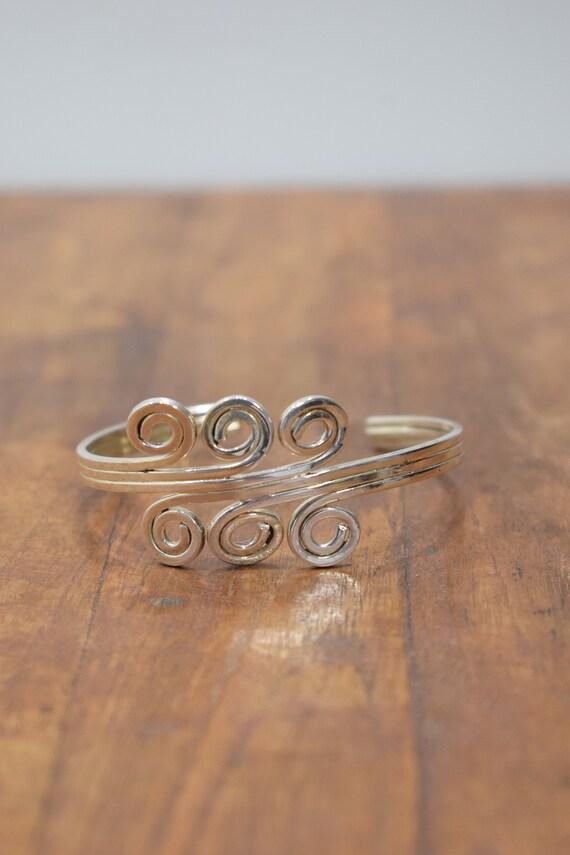 Bracelet Plated Silver Swirl Cuff Bracelet