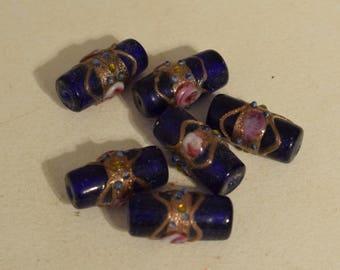 Beads Blue Glass Pink Flower Czech Glass Beads 22mm