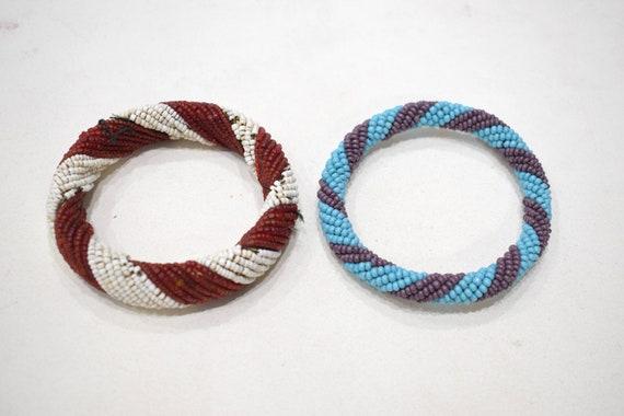 "African 2 Masai Beaded Stripped Bangle Bracelets Kenya 4"""