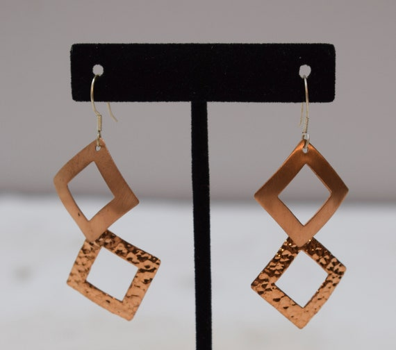 Earrings Plated Copper Textured Triangle Dangle Earrings 60mm