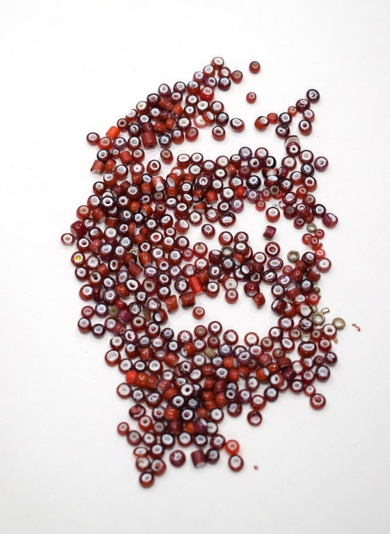 Beads African Dark Red White Heart Glass Beads 4-5mm