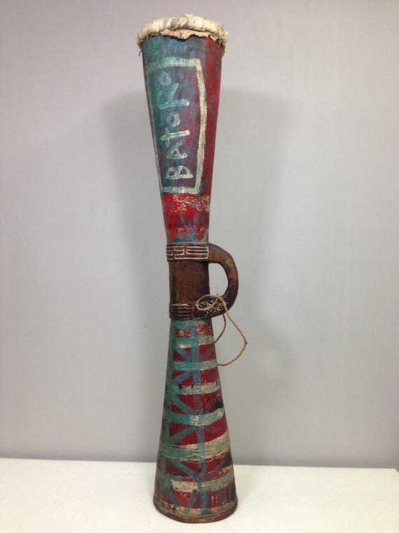 Papua New Guinea Drum Asmat Painted Wood Colorful Chanting Asmat Tribal Drum