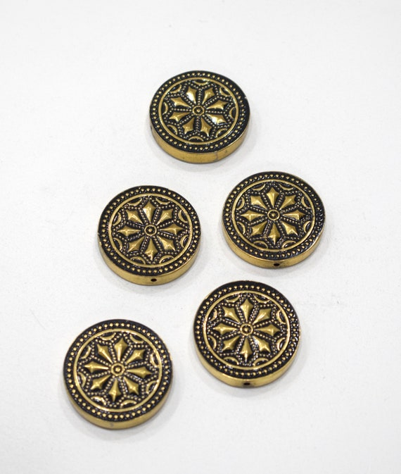 Beads India Brass Round Etched Beads 30mm