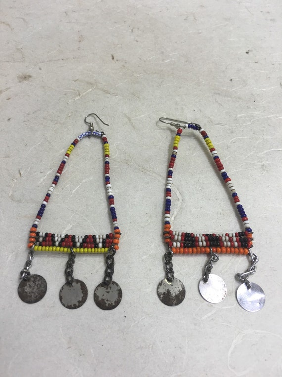 African Earrings Beaded Masai  Handmade Handcrafted Red Blue Yellow Beads Silver Charms Dangle Earrings