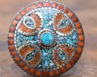 Ring Tibetan Coral Turquoise Silver Round Inlaid Ring