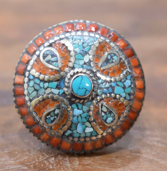 Ring Tibetan Coral Turquoise Silver Round Inlaid Ring