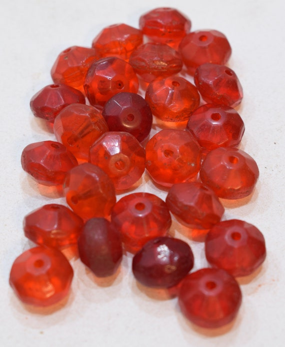 Beads African Red Vaseline Glass Vintage Beads 15mm